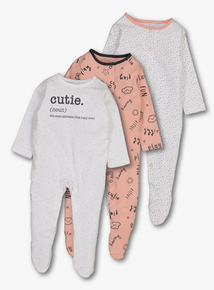 8c514397675 Pink   White Cloud Print Sleepsuits 3 Pack (Newborn-24 months)