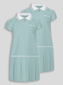 2 Pack Green Sporty Gingham Dresses (3-12 years)