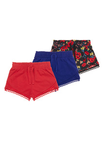 Girls Multicoloured Floral Bohemia Shorts 3 Pack (3-12 years)
