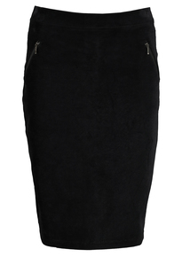 Black Jersey Cord Pencil Skirt