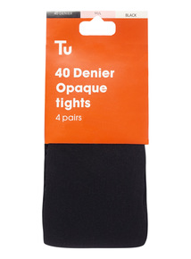 Black 40 Denier Opaque Tights 4 Pack