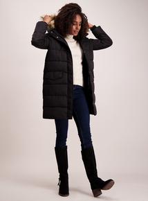 Black Longline Padded Coat