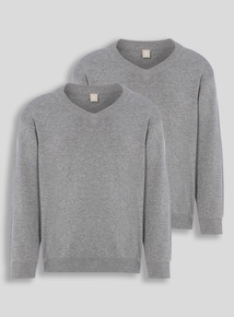 Unisex Grey V-Neck Jumpers 2 Pack (3-16 years)