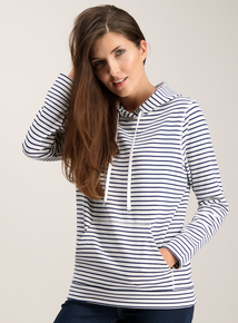 White and Blue Nautical Stripe Pullover Hoody