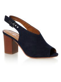 Block Heel High Cut Sling Back Sandal