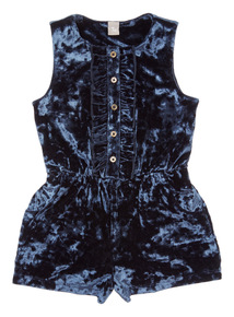 Navy Velour Playsuit (3-14 years)
