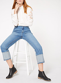 Belted Hem Contrast Straight Jeans
