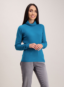 Teal Soft Touch Rib Roll Neck Jumper