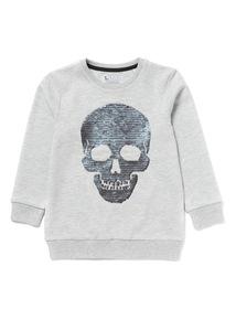 Grey Reversible Sequin Skull Sweatshirt (3-14 years)