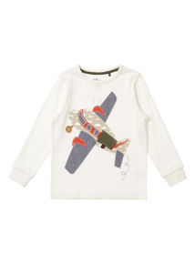 Boys Cream Plane Appliqué Top (9 months-6 years)