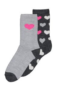Black & Grey Neon Heart Thermal Socks 2 Pack