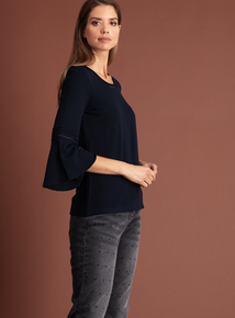 Premium Navy Fluted Sleeve Jersey Top