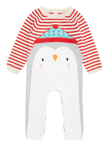 Red Christmas Penguin Knitted Romper (1-24 months)