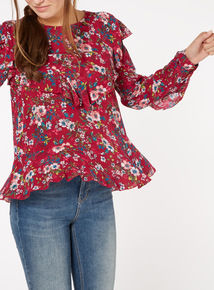 Pink Floral Print Frill Blouse