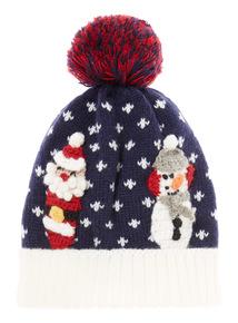 Navy Christmas Scene Hat (1-6 years)