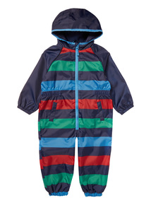 Boys Multicoloured Stripe fleece-lined Puddlesuit (9 Months-6 Years)