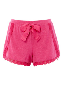 Pink Lace Trim PJ Shorts