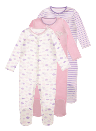 c97fed5ab Baby Purple Cloud Sleepsuits 3 Pack (0-24 months)