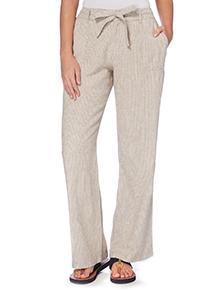 Stone Linen Stripe Wide Leg Trousers