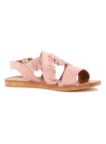'Made in Italy' Suede Ruffle Sandals