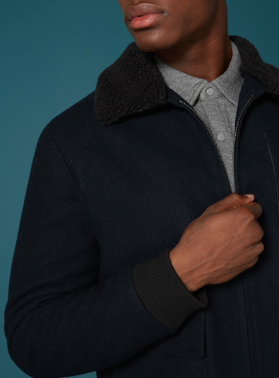 Premium Navy Wool Borg Collar Jacket