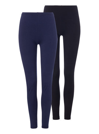 d4e8fa433 Womens Navy Black Plain Leggings 2 Pack