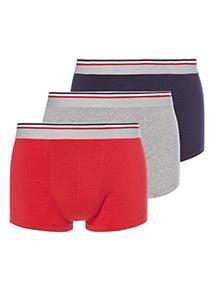3 Pack Stripe Waistband Hipster Briefs
