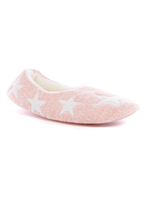 Pink Star Embroidered Full Slippers