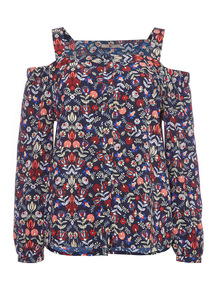 Multicoloured Cold Shoulder Pattern Top