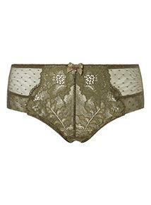 Khaki Jennifer Lace Spot Mesh Shorts