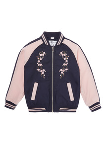 Girls Pink Embroidered Bomber Jacket (3-14 years)