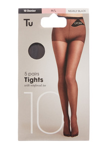 Black 10 Denier Lycra Tights 5 Pack