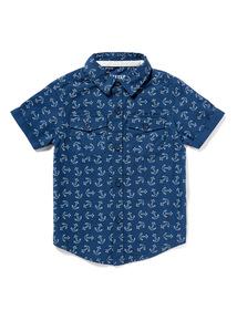 Navy Anchor Print Shirt (9 months-6 years)