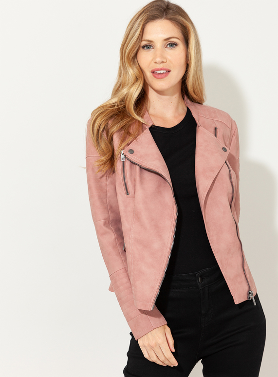 Womens ONLY Pink Faux Leather Biker Jacket | Tu clothing