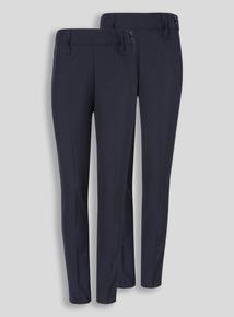 Girls Navy Woven Trousers Longer Leg 2 Pack (3 - 12 years)