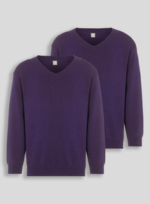 Purple V-Neck Jumpers 2 Pack (3-12 years)