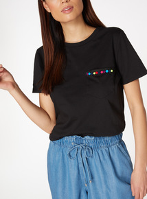 Black Pompom Trim Pocket T-Shirt