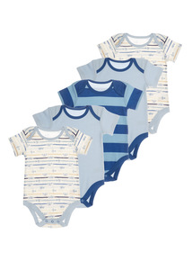 Blue Island Hopper Bodysuits 5 Pack (0 - 24 months)