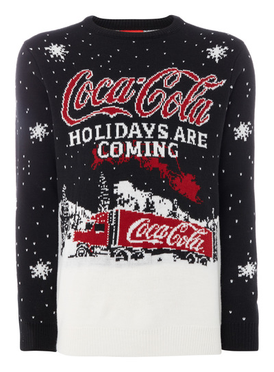 Mens Black Christmas Coca Cola Jumper