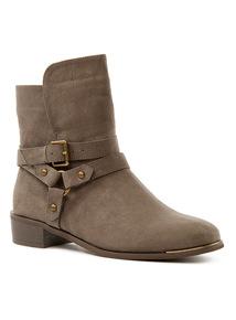 Strappy Mid Block Heel Boots
