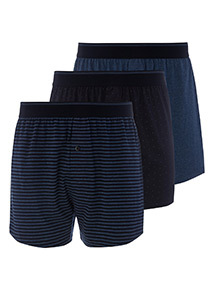 3 Pack Blue Printed Jersey Boxers