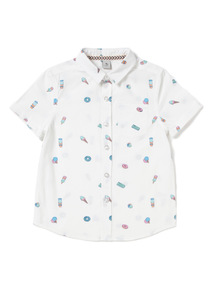 White Vacation Printed Shirt (3-14 years)