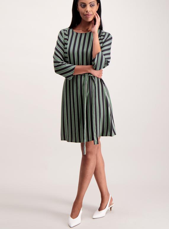 Multicoloured Stripe Belted Dress