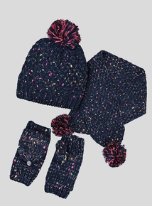 Multicoloured Pom-Pom Scarf & Mitten Set (3-13 Years)