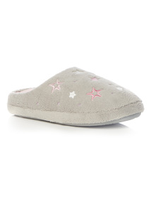 Grey Star Embroidered Mules