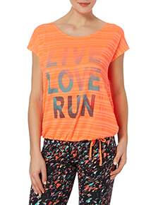 Coral Slouch Slogan T-shirt