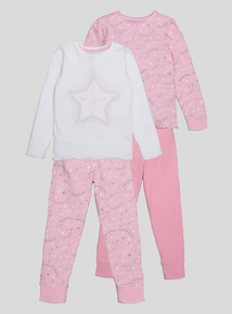 Pink and White Star and Moon Pyjamas 2 Pack (18 month-12 years)