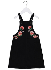 Black Floral Embroidered Pinafore Dress (3-14 years)