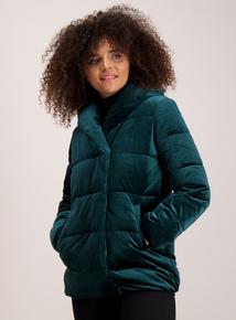 Online Exclusive Emerald Green Velvet Quilted Jacket