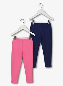 Pink & Navy Leggings 2 Pack (9 Months - 6 Years)